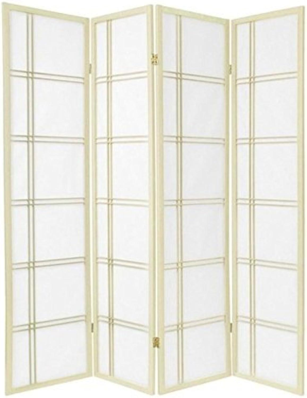 Oriental Furniture 6-Feet Double Cross Japanese Shoji Folding Privacy Screen Room Divider, 4 Panel Ivory