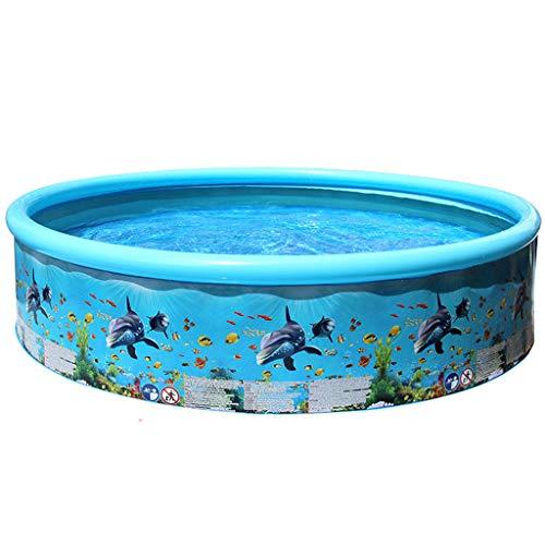 FNKDOR Planschbecken für Kinder Familien Swimmingpool Aufblasbar Schwimmbecken Gartenpool Aufstellpool Rund Faltbar Schwimmbad 49/61/73 inches (186x40cm, Blau)