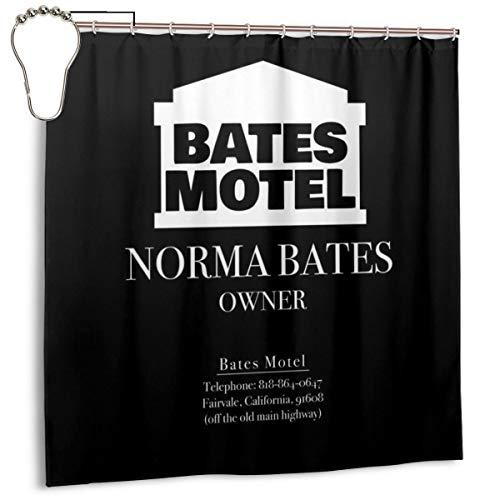 GSEGSEG Wasserdichter Polyester-Duschvorhang Psycho Norman Bates Mttel-Besitzer Visitenkartendruck dekorativer Badezimmer-Vorhang mit Haken, 182,9 cm x 182,9 cm