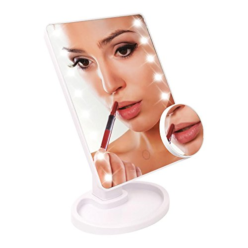 Price comparison product image Cosmetic Led Table Make Up Mirror- Touch Control & 5X Magnifying Magnification 16 Led Lights- Selfie Mirror Light Purple