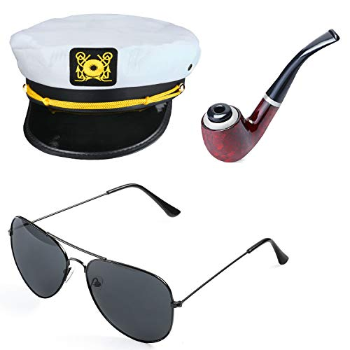 Beelittle Yacht Captain Hat Costume Accessories Set Sailor Hat with Corn Cob Pipe & Aviator Sunglasses (A)