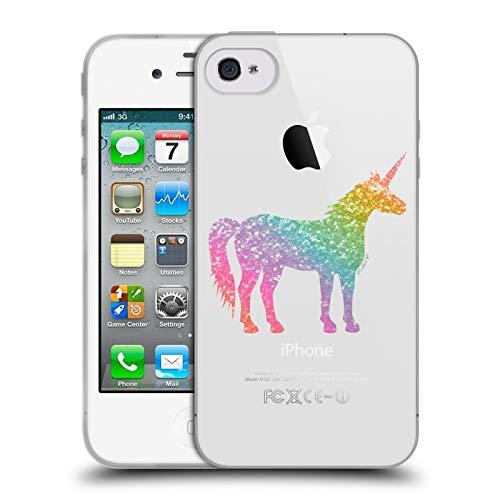 Head Case Designs Ufficiale PLdesign Arcobaleno Unicorno Scintillante Cover in Morbido Gel Compatibile con Apple iPhone 4 / iPhone 4S