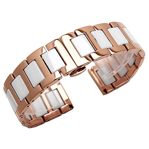 Ladies Watch Bands Rose Gold 20mm Stainless Steel Bracelet Watch Band Butterfly Clasp White Ceramic Watch Straps for Women