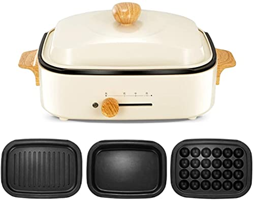 Nasole Wok 3 en 1 Multifuction Eléctrico/Hot Pot/Takoyaki Cocina, Parrilla de Barbacoa Coreana, Recubrimiento antiadhesivo de 3 Partes de Placa múltiple para Asar, braising, Sopa (Color : Beige)