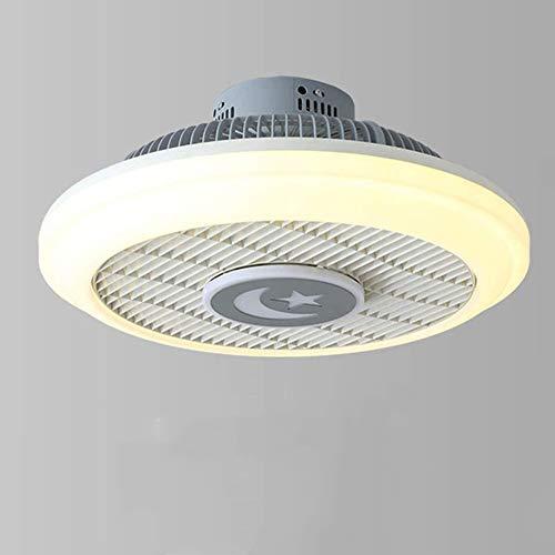 PHLPS Ventilador de techo con luces LED moderno de control remoto ajustable velocidad del viento regulable con mando a distancia Momento tranquilo Habitación Sala luces abanico blanco Ventilador de te