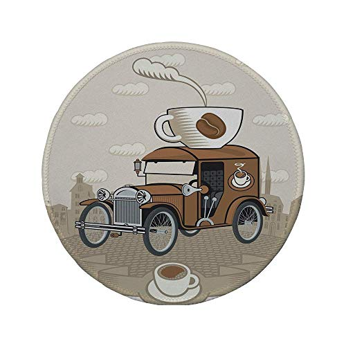 Rutschfreies Gummi-rundes Mauspad Autos altmodisches Auto mit Kaffeetasse auf der Oberseite Koffein-Getränk Heißgetränk dekorativ Karamell-Kakao-Weiß 7.9