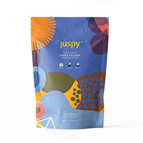 Juspy Raw Cacao & Collagen Powder Blend - Natural Energy Boost with Marine Collagen, Rice & Pea Protein and Superfoods - 17g Protein per Serving - Gluten Free - 480g Resealable Pouch