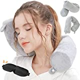 Lucear Twist Memory Foam Travel Pillow Neck, Chin, Lumbar Leg Support Traveling on Airplane, Bus, Train at <span class='highlight'><span class='highlight'>Home</span></span>