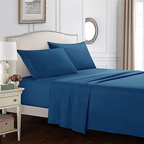 GSOEJ Bedsheets Sets 3 Or 4 Piece Extra Soft Deep Pocket Wrinkle And Fade Resistant Flat Sheet Fitted Sheet Pillowcases Navy blue QUEEN (Four pieces)