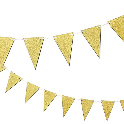 Gold Happy Birthday Banner Triangle Garland - Elegant Party Bunting Flags Decorations Kids Birthday Party Supplies - Size Small - 3.75 x 5.5 inch Flags, 10 Feet Length