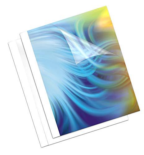 Fellowes Coverlight - 20 cubiertas para encuadernación térmica, 1.5 mm, transparente y blanco mate
