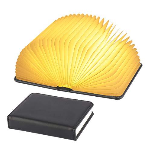 XIUDI 2 Colors Mini Folding Book LampPortable Desk LightNovelty LED Paper Lantern with USB Rechargeable Night LightMini Black Size 43×35×1in