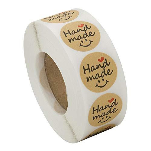 LOVIVER Etiquetas Adhesivas Marrones'hechas a Mano' Etiquetas Circulares Etiquetas Papel Kraft 500 Piezas/Rollo