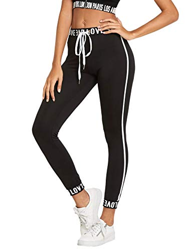 SOLY HUX Damen Sport Leggins Leggings Capris Yoga Pants mit Kordelzug Streifen Seitenstreift Schwarz M