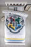 Harry Potter Alumni - Funda de edredón Reversible con Funda de Almohada a Juego, polialgodón, diseño Oficial de Escudo de Hogwarts, Color Gris