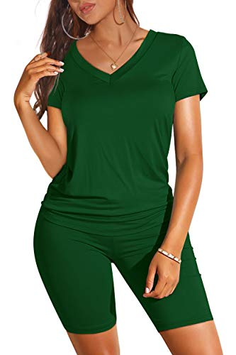 Sexy Two Piece Outfits for Women Casual Plain T Shirts Comfy Green L
