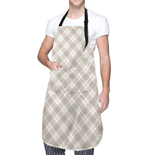 Diagonal Plaid Pattern Geometrische und gestreifte Fliesen Unisex verstellbare Latzschürze Wasserdicht mit 2 Taschen Küchenkochschürzen, am besten für Geschirrspülen, Laborarbeiten, Metzger, Hundepfle