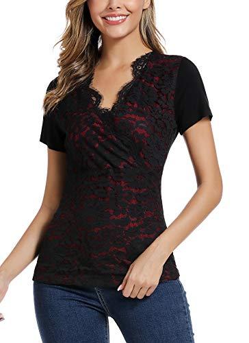 MISS MOLY Damen Sommer Oberteile Sexy Spitzen Shirt Tiefer V-Ausschnitt Bluse Rot Large