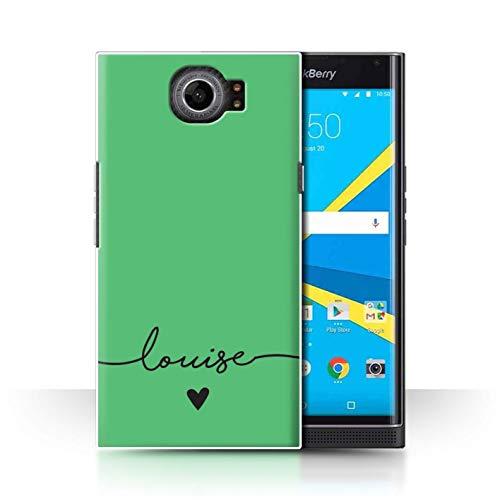 Stuff4® Personalisiert Individuell Farbe Palette Hülle für BlackBerry Priv/Smaragd Grün Design/Initiale/Name/Text Schutzhülle/Case/Etui