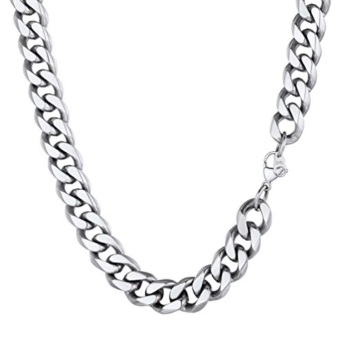 PROSTEEL Mens Curb Chain Women Stainless Steel Cuban Link Chain Necklace 12mm 18inch Male Necklaces Choker