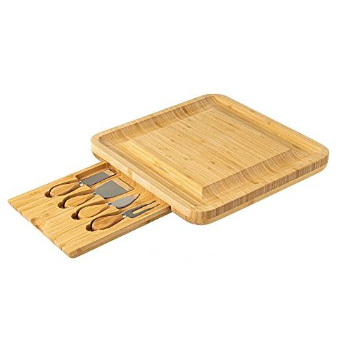 Tabla de Queso Tabla de Cortar Queso con Utensilios de bambú Natural 33x33 cm