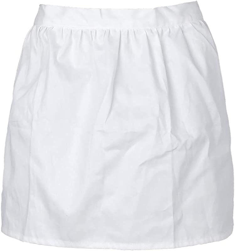 Aspire White Half Aprons Cotton Kitchen Cafe Waitress Waist Apron Tea Party Maid Working Costume