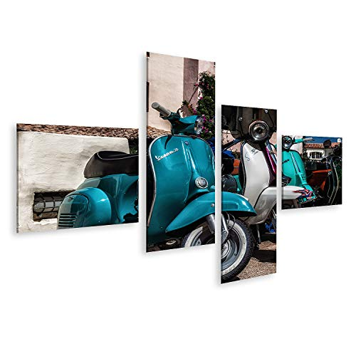 Bild auf Leinwand Piaggio Vespa Vintage Porto Cervo Italien August Piaggio Vespa Vintage Sprint Motorroller Motorrad Motorrad Bilder Wandbild Poster Leinwandbild