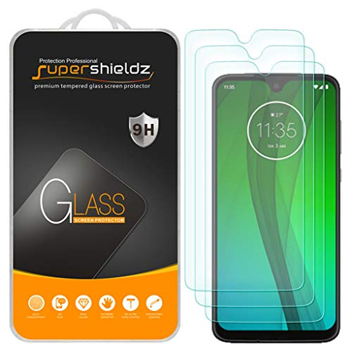 (3 Pack) Supershieldz Designed for Motorola Moto G7 Tempered Glass Screen Protector, Anti Scratch, Bubble Free