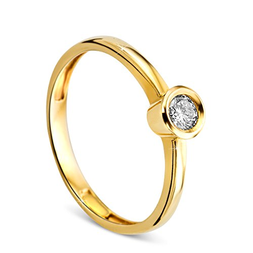 Orovi Damen Verlobungsring Gold Solitärring Diamantring 14 Karat (585) Brillanten 0.17crt GelbGold Ring mit Diamanten