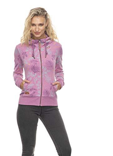 Ragwear PAYA Flowers Damen,Sweatjacke,Zip Hoodie mit Kapuze und Reißverschluss,vegan,Zwei Taschen,Purple Red,M