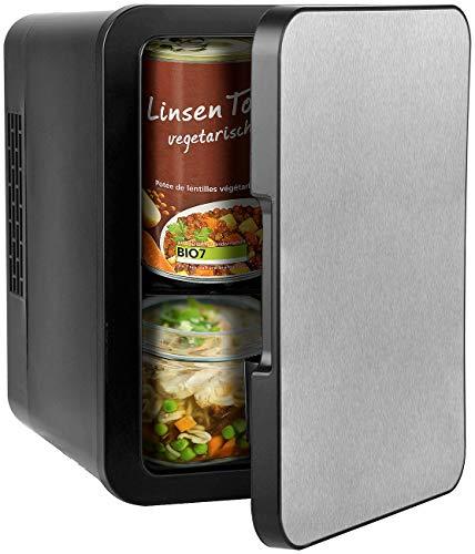 Rosenstein & Söhne Tischkühlschrank: Mini-Kühlschrank mit Warmhalte-Funktion, Edelstahlfront, 12/230 V, 4 l (Mini Kühlbox)