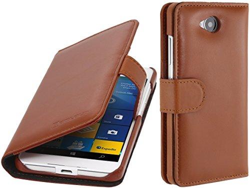 StilGut Talis, Hülle aus Leder mit Kreditkartenfach für Microsoft Lumia 650/650 Dual SIM, Cognac