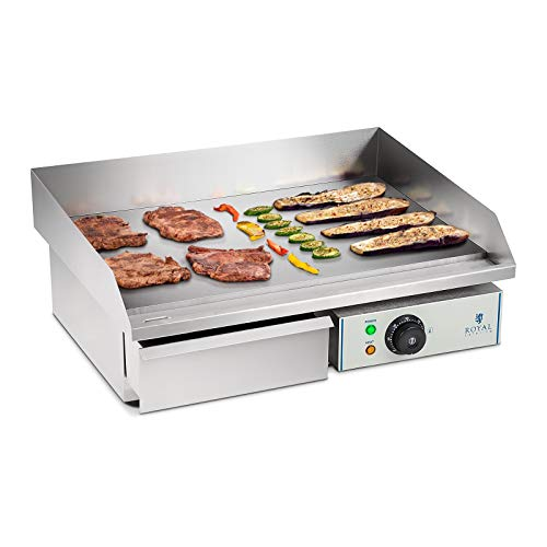 comparateur Royal Catering Plancha Electric Smooth RCEG-55 (48 x 55 x 24 cm, 3000 W, anti-goutte, drainage)