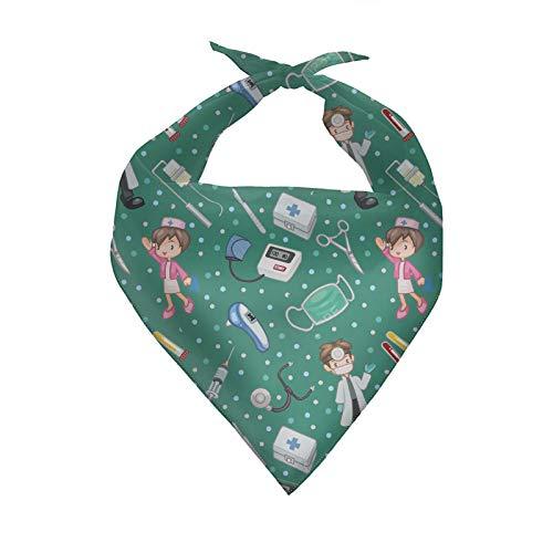 HUGS IDEA Pañuelo para perro, enfermera, triángulo verde, accesorios lavables para perro, bufanda para cachorros, bufanda ajustable, accesorio para perro bufanda