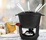 Artestia Fondue Pot,Cast Iron Fondue Set,Cheese Fondue Sets 10-Piece, Black