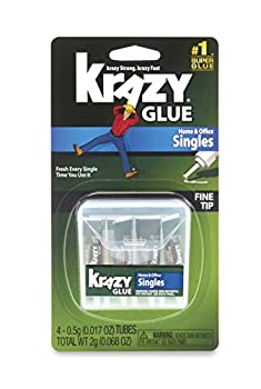 Krazy Glue KG82048SN Home & Office Super Glue Single-Use Tubes Fine Tip 0.5 Grams 4 Count 0.017 oz Original Version