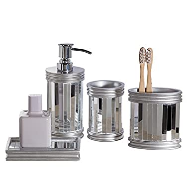 Mirror Baton Bathroom Accessories Set, 4 Piece Bath Ensemble, Bath Set Collection Features Soap Dispenser Pump, Toothbrush Holder, Tumbler, Soap Dish - Silver