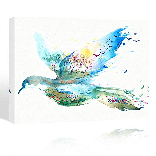 Purple Verbena Art hand painting Watercolor flying birds colorful pictures abstract artwork Canvas print Wall Art for kid's room school office bar birthday Gift wood Framed and streched 12x16 inches