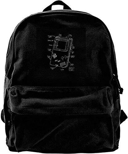 Yuanmeiju Leinwand Rucksack Gameboy Blueprint Rucksack Fitnessstudio Wandern Laptop Umhängetasche Daypack für Männer Frauen