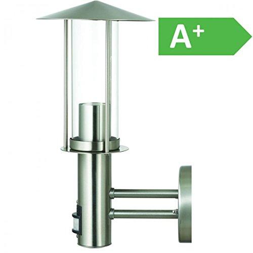 Wandleuchte Edelstahl/Glas mit Bewegungsmelder 18,5x23x35cm Außenleuchte E27 IP44 Lampe