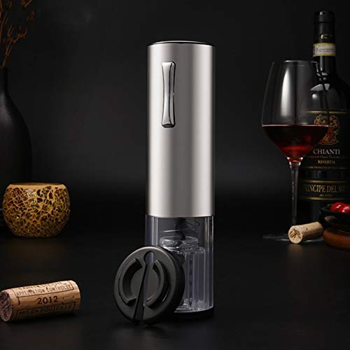 HXXgiefg USB Abrote automático de vinos de vino Kit de sacacorchos USB recargable abrector de botella con lámina de cutte (Color : Silver)