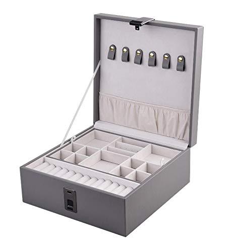 Schmuckschatulle leder damen Grau Gespiegelte Box Display Aufbewahrungsbox, tragbarer Ring, Ohrringe, Halskette, Armband, Ohrringe, Ring, Geschenk für Mädchen, Damen Kunstleder Fingerabdrucksperre