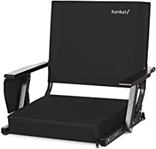 Kembaty Stadium Seats for Bleachers, Bleacher Seats with Backs and Cushion, Extra Wide Portable Stadium Chairs with Back Support and Armrests, Black, 1 Pack