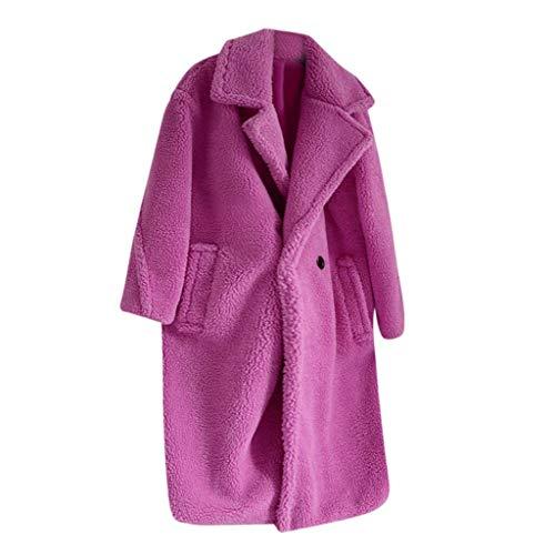 Lulupi Damen Warm Fleecemantel Winter Jacke Mantel Lang Revers Winterjacke Teddy Fleece Plüschjacke Faux Wolle Coat Parka Outwear mit Taschen