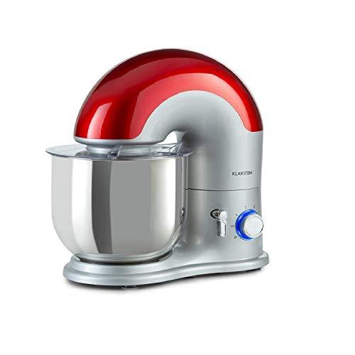 Klarstein Delfino Küchenmaschine Rührmaschine, 1800 Watt in 6 Leistungsstufen mit Pulsfunktion, Planetarisches Rührsystem, 7 l Edelstahlschüssel, 3-tlg. Zubehör: Rühr- & Knethaken, silber