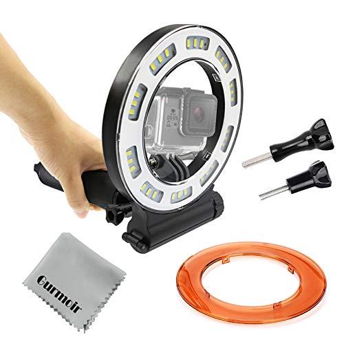Gurmoir Waterproof Diving Light 40m Dive Underwater 1000 Lumen LED Flash Ring Light For GoPro Hero 7/Hero 6/5/HERO(2018)/5S/4/4S/3+ SJCAM YI and More Action Camera Scuba Diving(with Battery)