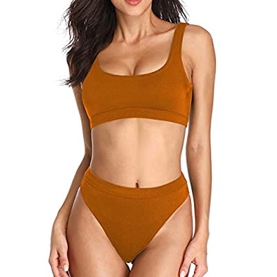 Dixperfect Two Pieces Bikini Sets Swimsuit Low Scoop Top High Waisted Cheeky Bottom (L, Dark Orange)