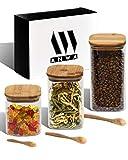 ANWA 3er Set (0.75l, 1l, 1.35l) quadratische Vorratsgläser mit Bambusdeckel und Bambuslöffel, ideal zur Aufbewahrung von Müsli, Cornflakes, Nudeln, getrockneten Früchten und vielem mehr