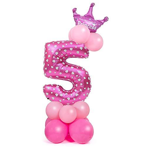 Comius Sharp Globo Número Gigante, 32 Pulgadas Globo Número Cumpleaños para Fiesta de cumpleaños y Aniversarios (Pink Number 5)