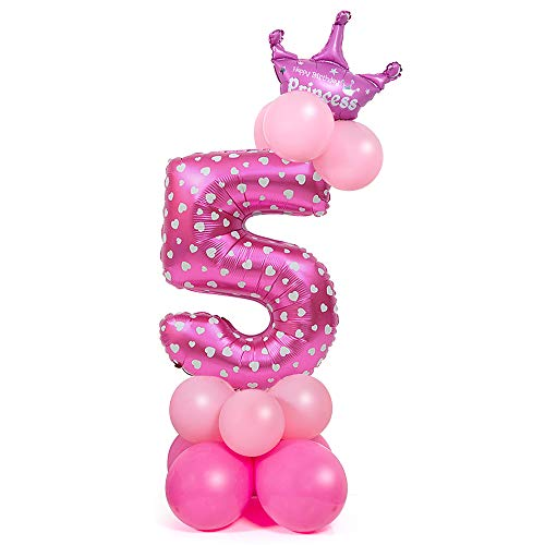 Globo Número Gigante, Comius Sharp 32 Pulgadas Globo Número Cumpleaños para Fiesta de cumpleaños y Aniversarios (Pink Number 5)